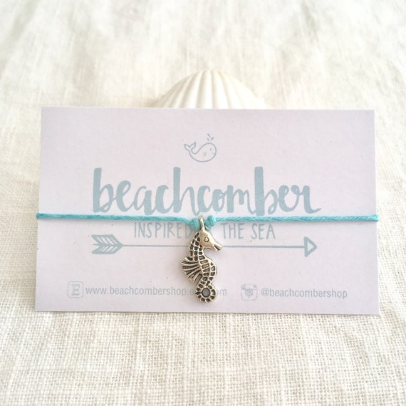 wish bracelet or anklet, sea horse friendship bracelet, party favor, bridesmaid gift, beach jewelry