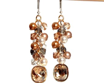 Crystal Mixed Metal Swarovski Earrings, Cushion Cut Fancy Stone, Crystal Statement Earrings, Gold and Silver Dangles, Date Night Jewelry