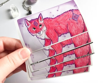 Fantasy Red Fox Art Sticker | Fireflies | Crystal Necklace | Magical | Mythical | Purple | Illustration |