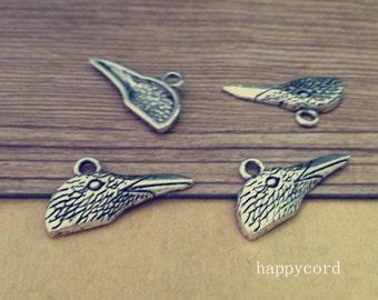 20pcs  Antique silver bird head Pendant charm 14mmx28mm