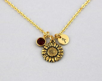 sunflower necklace, gold filled, initial necklace, OPTIONAL birthstone or pearl, sunflower jewelry, happy sunflower gift, flower girl gift