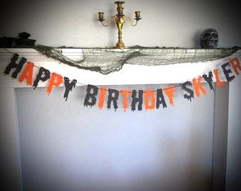 Halloween Birthday, Happy Birthday Banner, Scary Dripping Font, Haunted Birthday, Orange and Black, Horror Birthday, Scary Theme Party