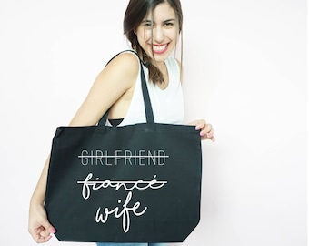 Girlfriend Fiance Wife Canvas Tote, Honeymoon Tote, Just Married, Bachelorette Party Gift, Gift Bag, Tote Bag, Canvas, Honeymoon Gift