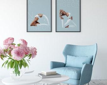 Asana Yoga Illustration - pastel drawing. King Pigeon Pose I+II