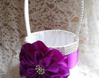 Purple Flower Girl Basket, White Flower Girl Basket, Bling Flower Girl Basket, Rhinestone Mesh handle and Trim