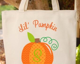 Trick or Treat Bag Halloween Tote Bag Pumpkin Halloween Trick or Treat Bag Little pumpkin