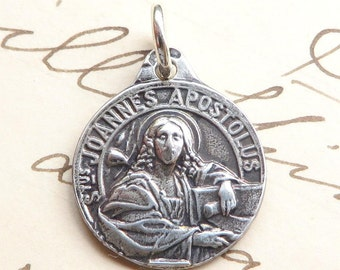 St John the Apostle Medal - Patron of writers, friendship, loyalty and love - Antique Reproduction
