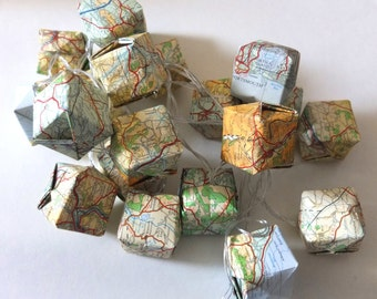 Fairy lights, Map paper origami lanterns, 20 LED bulbs, battery powered, upcycled, recycled vintage map.