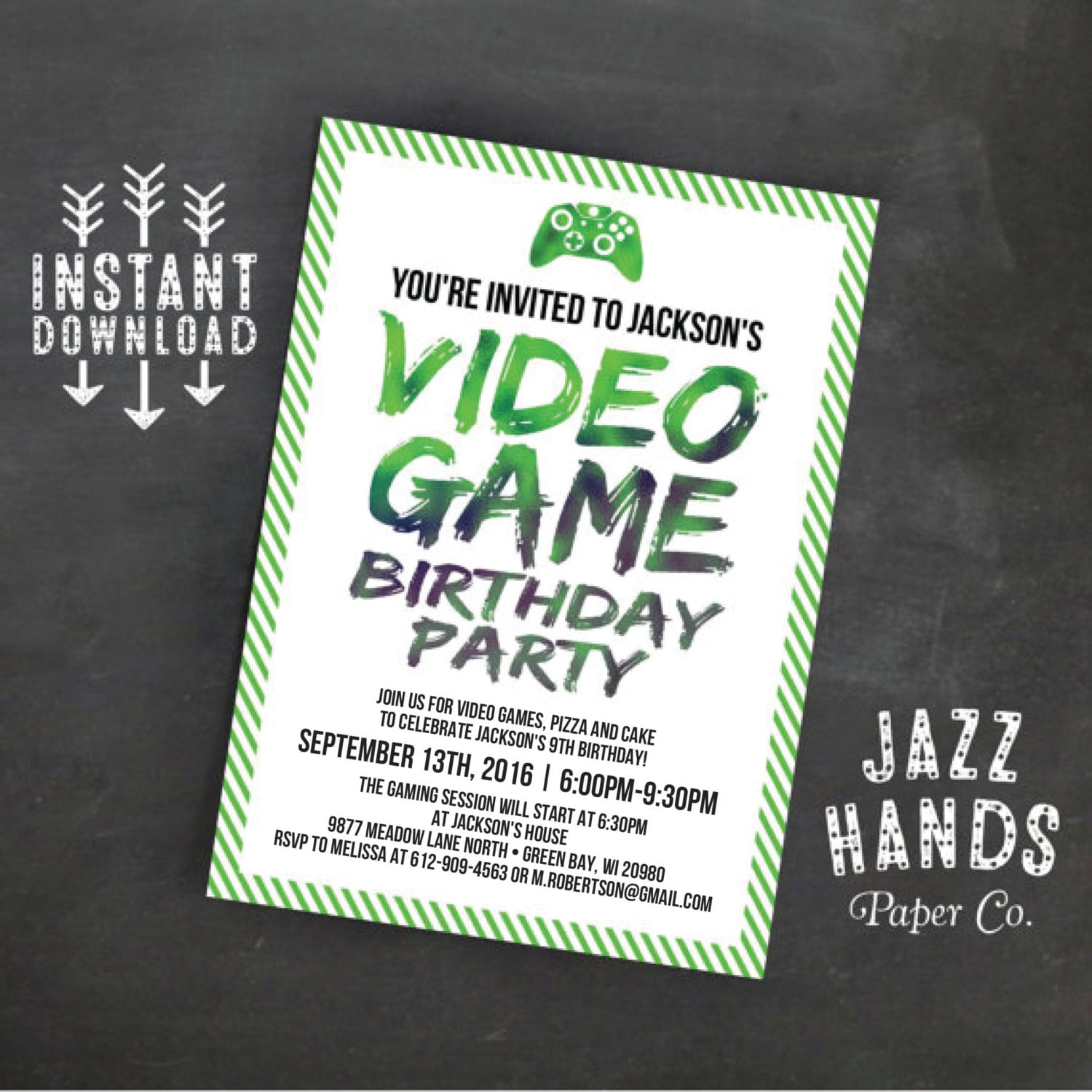 Printable Video Game Birthday Invitation Template | DIY | Video Game ...