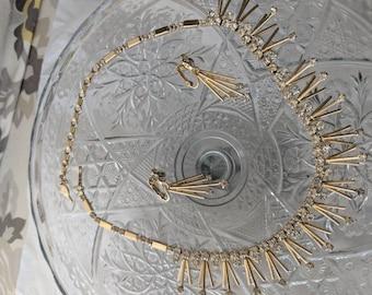 Mid Century Pin Drop & Rhinestone Earrings
