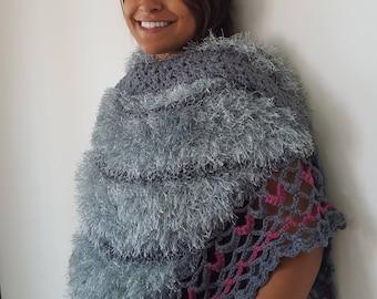 Women's light dark grey and red fuzzy shawl, Soft and Cozy scarf, Triangle shawl, Winter shawl, OOAK shawl, Super soft shawl