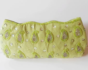 Green Clutch Bag, Beaded Evening Bag, Vintage Green Bag, Rhinestone Trim, Beaded Purse,, Green Bead Handbag EB-0109