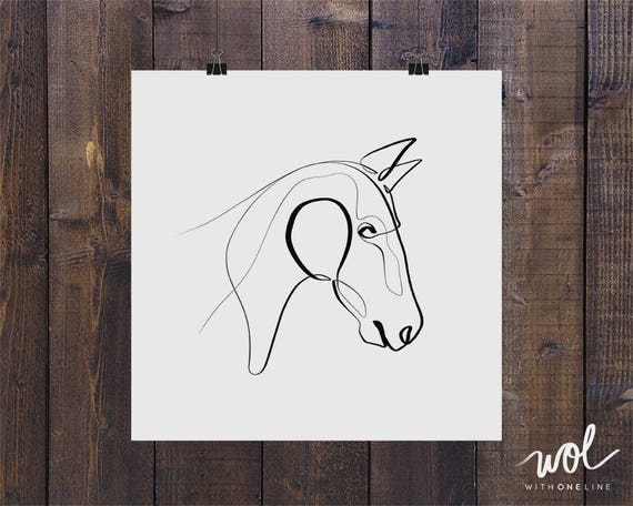Single Line Character Art : Horse art print gifts equine one line gift