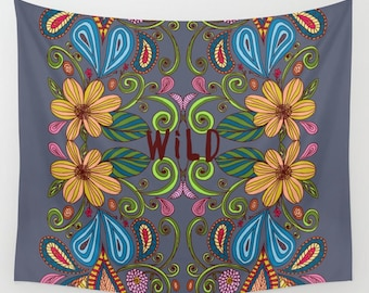 colorful floral wall tapestry- gray- yellow-blue- pink- dorm wall decor- typography- words- wall art- boho home decor- nature wall decor