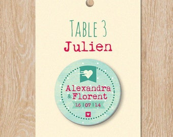 Escort cards heart and polka dot personalized 38 mm welcome wedding badge