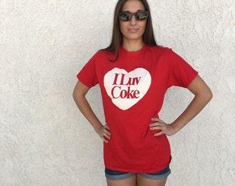SALE 1970s mint I Luv Coke T shirt