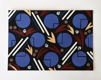 Original geometric collage art: art deco inspired blue shapes