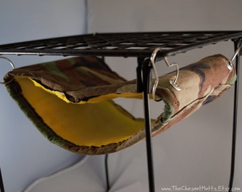 Upcycled Camo Rat Tube Hammock- Yellow