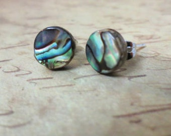 Abalone Stud Earrings, Natural paua shell earrings, Post earrings,  Paua earrings,  Abalone jewelry