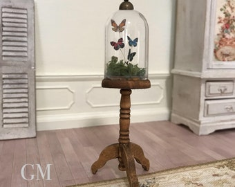 Miniature butterfly taxidermy display - glass dome cloche, shabby chic, wooden dollhouse furniture in 1:12th scale