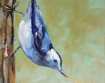 white breasted nuthatch // nuthatch // nuthatch painting // nuthatch art // bird art // bird painting // original art // original bird art