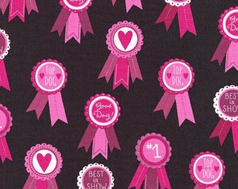 Pink Best In Show Dog Ribbon from Robert Kaufman's Classy Canine Collection by Pink Light Designs