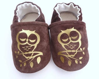 Brown genuine leather with Golden OWL slippers