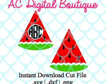 Watermelon with Monogram Border Digital Cut File--Instant Download--SVG, DXF, PNG Files for Cutting Machine Software