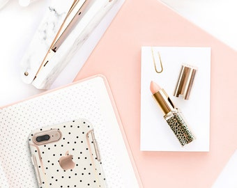 iPhone 8 Case iPhone 8 Plus Case iPhone X Cream and Dots and Rose Gold Case Otterbox Symmetry        PopSocket & WizGear Optional