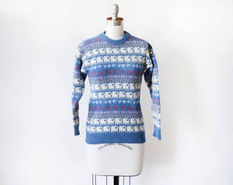 vintage sheep sweater, 80s Scottish wool pullover knit sweater, animal print hearts striped 1980s blue jumper, xxs