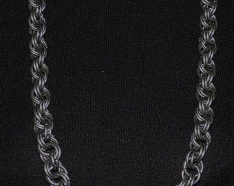 """38"""" Mens Chainmail Necklace  8 in 2 Spiral weave Large heavy rings"""