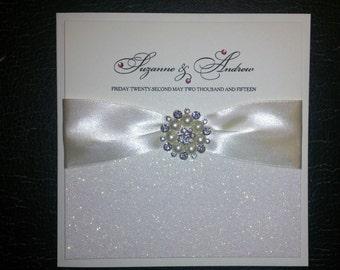 Wedding invitation handmade pocketfold SAMPLE square large ribbon with large crystal & pearl buckle