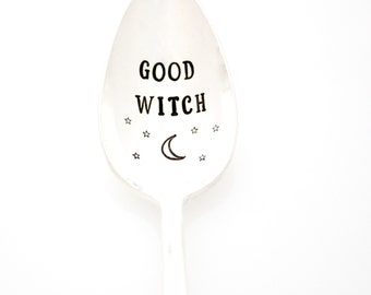 Good Witch hand stamped coffee spoon for a witchy woman. Halloween Spoons for Holiday Decor and Gifts.