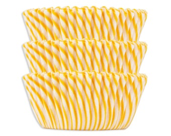 Yellow Candy Stripe Baking Cups - yellow striped cupcake liners, cupcake papers
