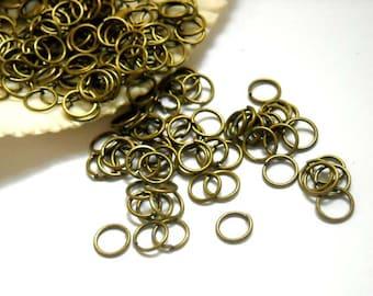 50/100 Antique Bronze Jump Rings 6mm, Open Loop - 11-3