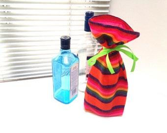 Wine Bag, Fabric Bottle Sleeve, Reusable Gift wrapping, Mexican Table Decor, Fiesta Party Favor, Cinco de Mayo wedding