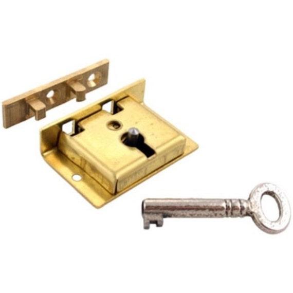 Brass Chest Lock With Key 1-1/2 W. X 1 H. High