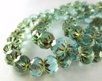 10 Green Aqua Picasso Czech Glass 9mm x 6mm faceted carved Cruller rondelle jewelry beads