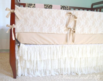 Shabby Chic Baby Bedding baby bedding crib bedding ivory lace and ivory cotton