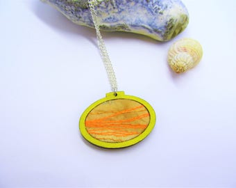 Yellow & orange embroidery hoop necklace