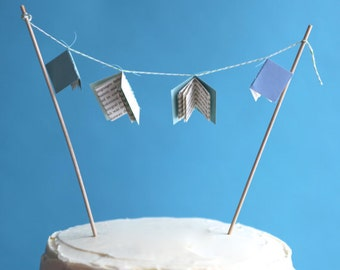 mini book baby shower cake topper - blue