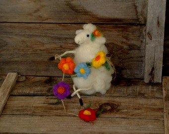 Felted sheep Wool lamb Spring flowers garland Easter Spring décor Cute gift Needle felt animal White sheep Aries Funny figurine Waldorf