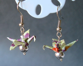 Handmade Origami Earrings with Cranes of Happiness Traditional Japanese Washi Paper Green and Purple