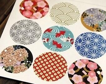 Autocollants avec motifs japonais