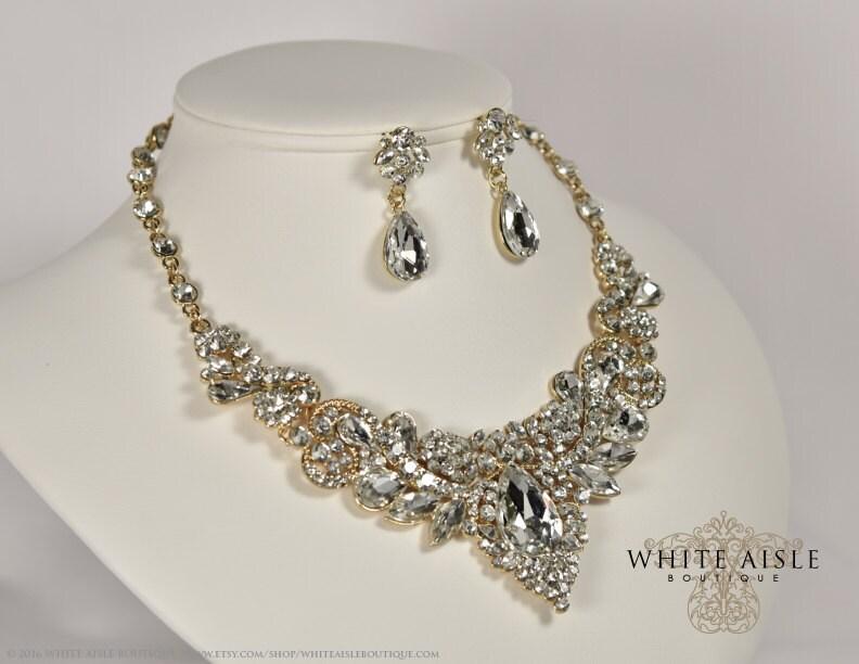 Gold Crystal Wedding Jewelry Set, Vintage Inspired Bridal Necklace ...