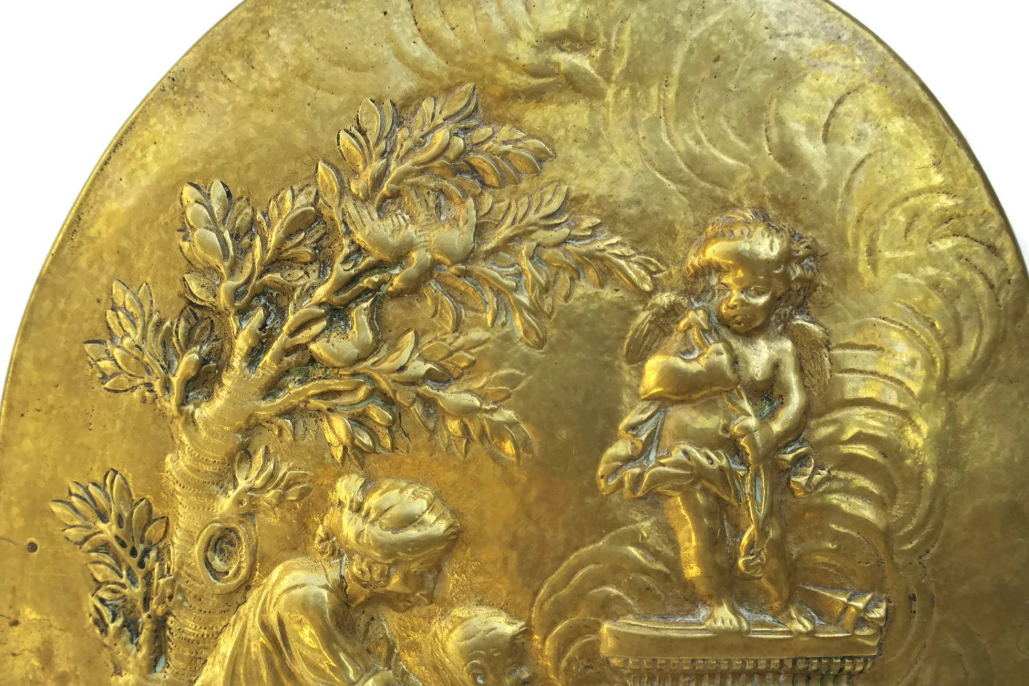 Antique French Brass Wall Plaque with Mother and Child Portrait ...