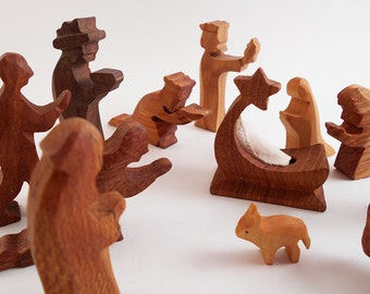 Hand Carved Wooden Nativity / 12-Piece Creche in the Manner of Ostheimer, Germany Figurines