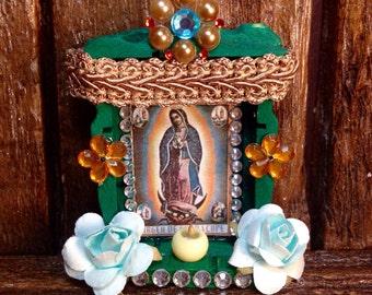 La-Virgen-Guadalupe Handmade Altar / Our Lady of Guadalupe Nicho / Tonantzin Retablo / Miniature Wooden Shrine / Ornament / Magnet