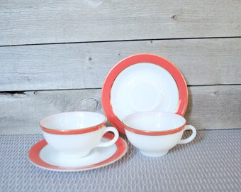 PYREX Pink Flamingo, Gold Trim, Cups And Saucers,  Set of 2, Mid Century, Shabby Chic, Cup, Saucer, Vintage, Salmon, Dinnerware, Coral, Red