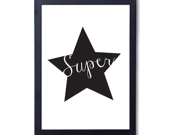 "Superstar (black), A4 8x10"" A3 or 11x14"", printed"